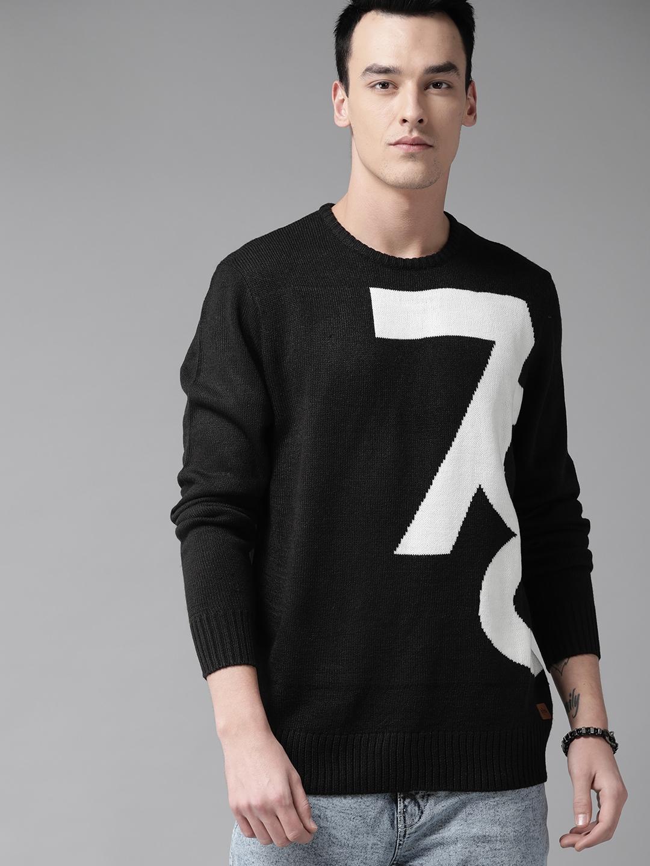 Roadster Men Black   White Self Design Sweater