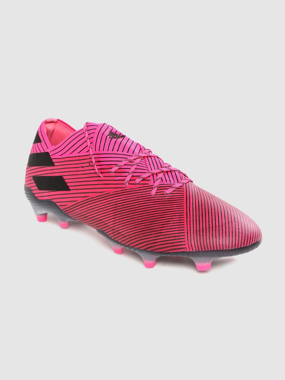ADIDAS Men Pink   Grey Nemeziz 19.1 FG Striped Football Shoes