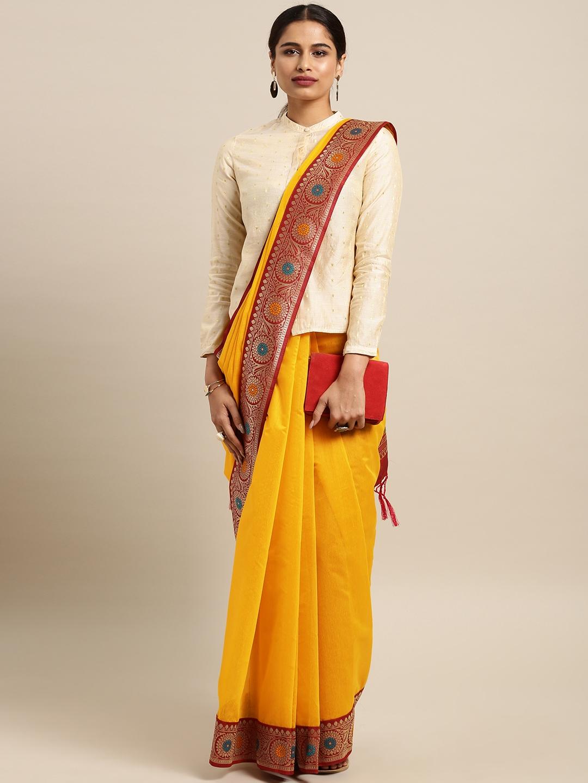 Varkala Silk Sarees Mustard Yellow Cotton Blend Solid Banarasi Saree