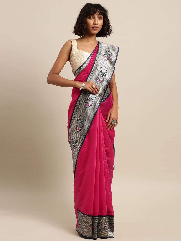 Varkala Silk Sarees Magenta Cotton Blend Solid Banarasi Saree