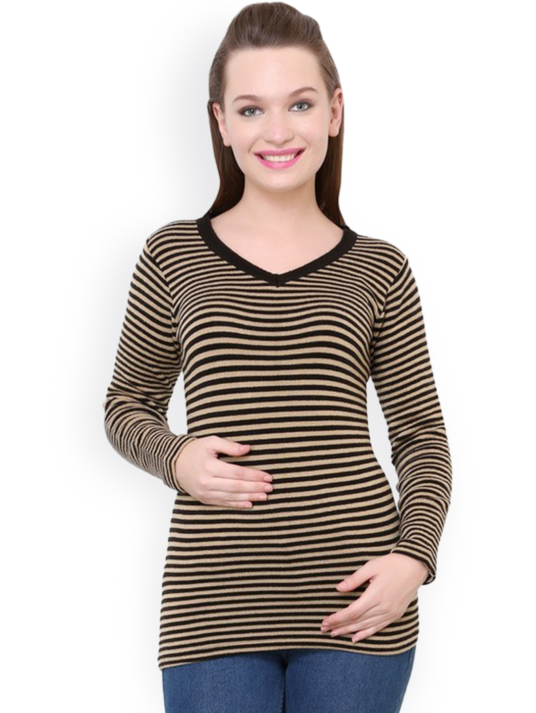 e1959f3e2f Buy Renka Brown   Black Striped Sweater - Sweaters for Women 1024377 ...
