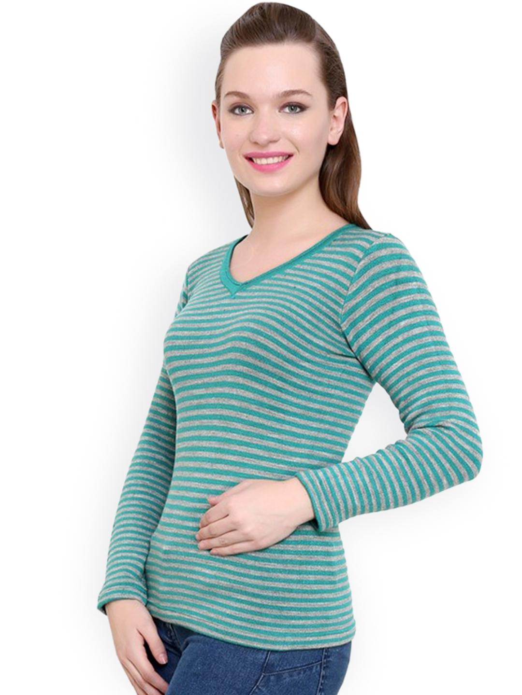 63a6b21e82 Buy Renka Green   Grey Striped Sweater - Sweaters for Women 1024384 ...