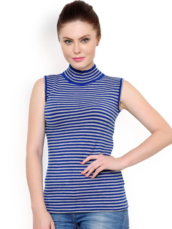 b46de7eb01 Buy Renka Blue Striped Sleeveless Sweater - Sweaters for Women ...