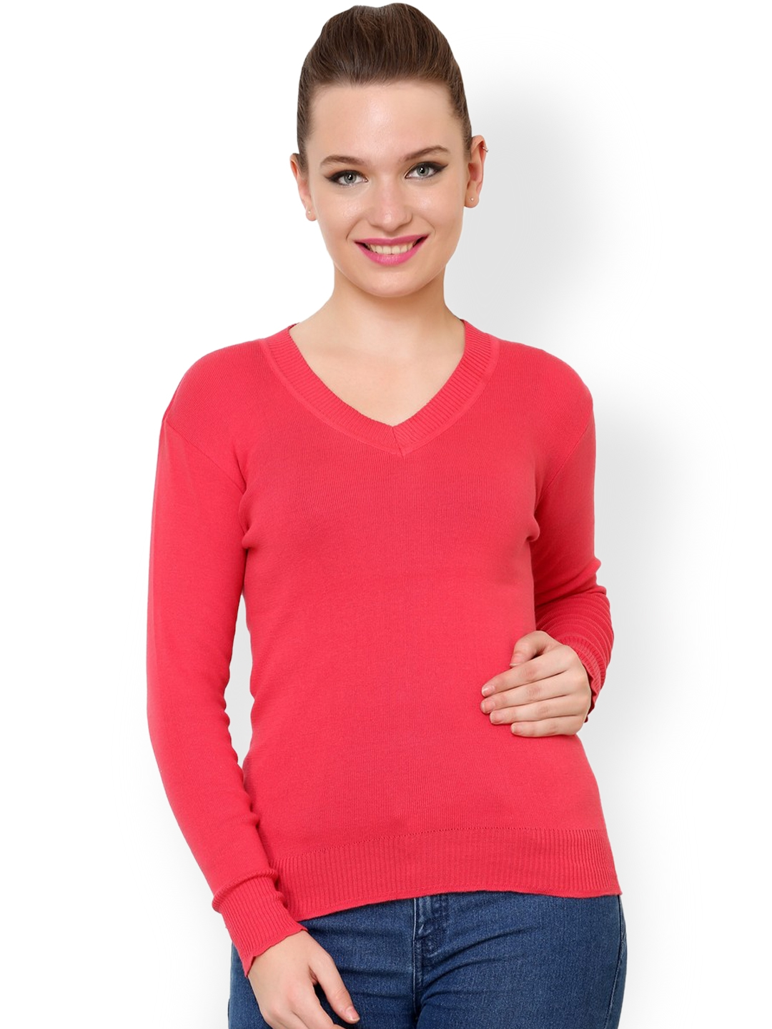 dd8d79e1ce Buy Renka Coral Red Sweater - Sweaters for Women 1024550