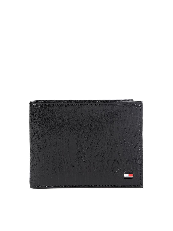 Tommy Hilfiger Men Black Textured Genuine Leather Two Fold Wallet