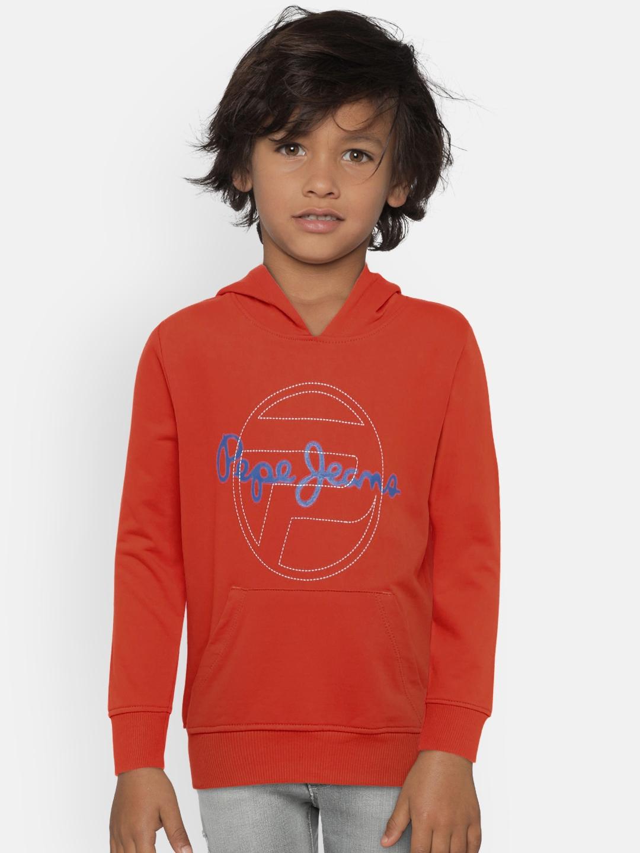 Pepe Jeans Boys Orange Printed Hooded Sweatshirt