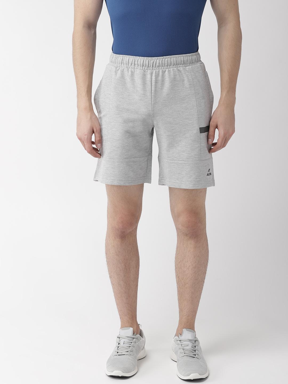 Alcis Men Grey Melange Solid Sports Shorts