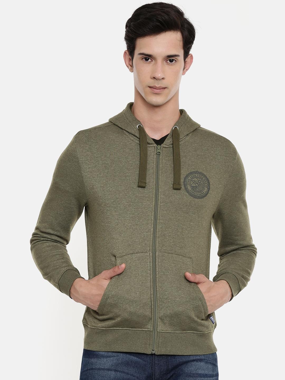 Wrangler Men Olive Green Solid Hooded Sweatshirt
