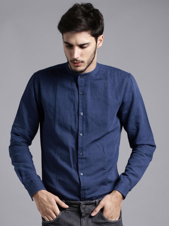 d0d4985f6e Buy Ether Men Navy Blue Slim Fit Anti Microbial Cotton Linen Shirt ...