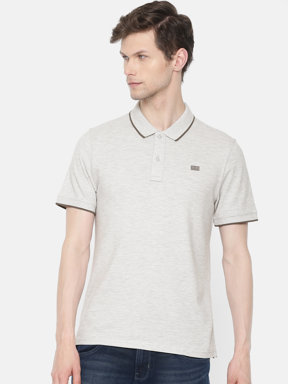 Wrangler Men Grey Melange Solid Polo Collar T shirt