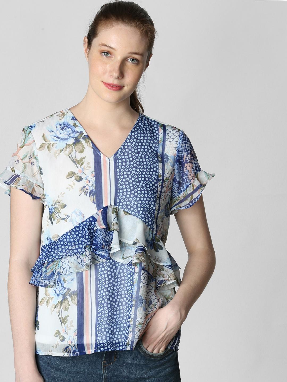 Vero Moda Women White   Blue Printed Top