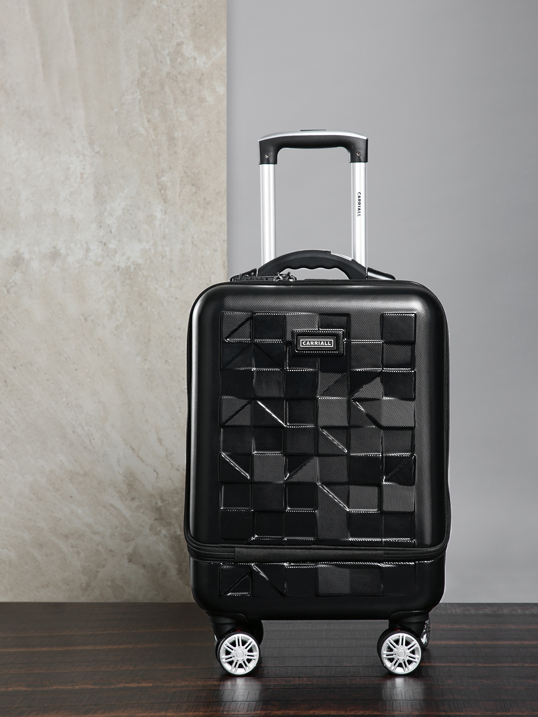 CARRIALL Unisex Black Patterned Mosaic PC 20'' Cabin Trolley Suitcase