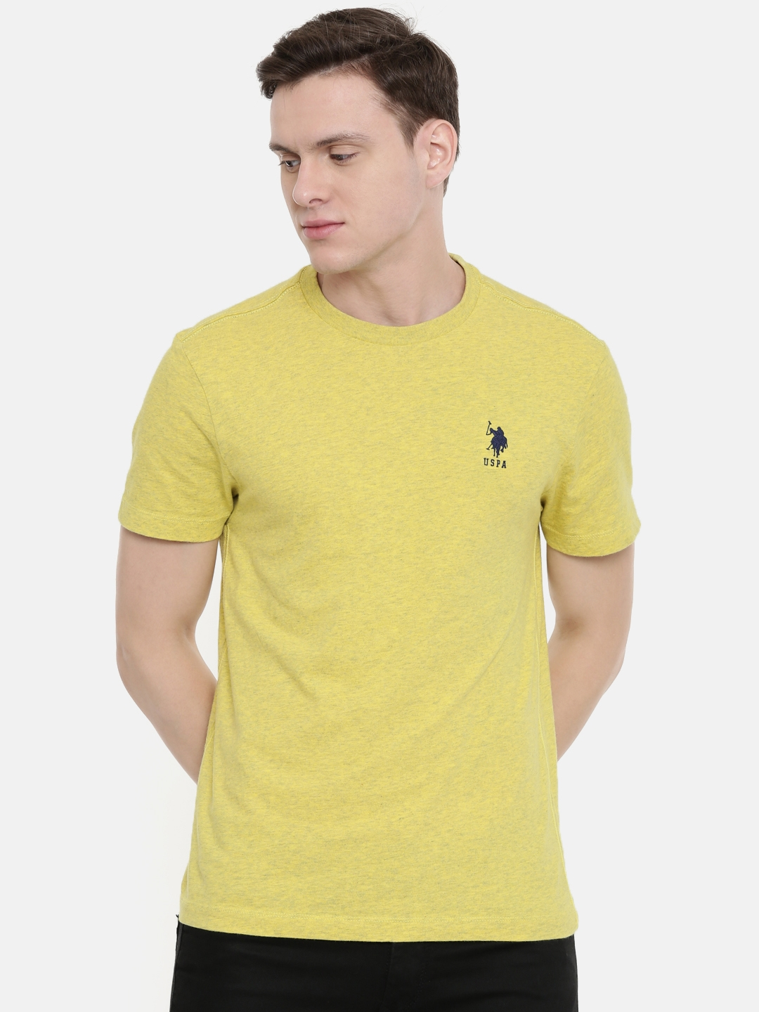 U.S. Polo Assn. Men Yellow Solid Round Neck T shirt