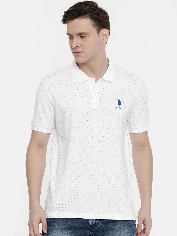 U.S. Polo Assn. Men White Printed Polo Collar T shirt