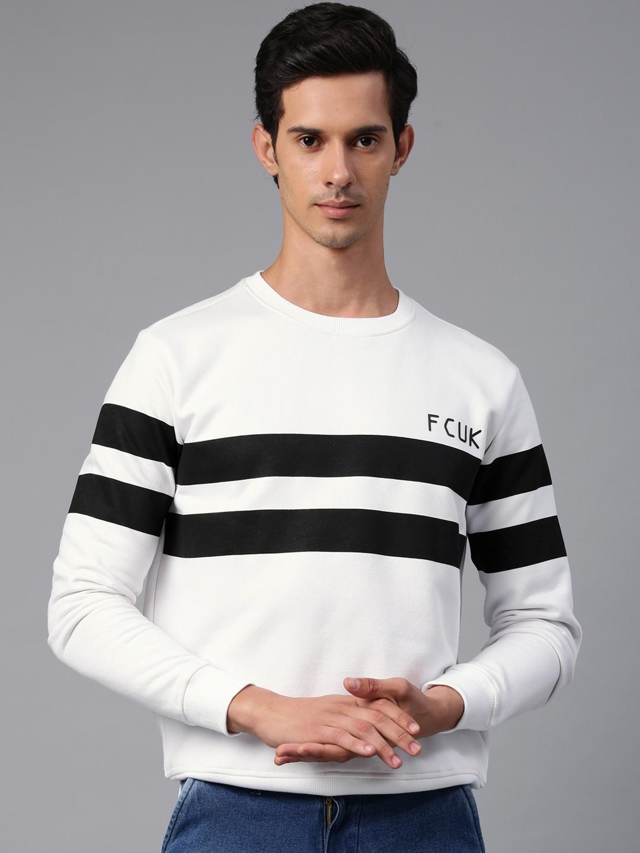 French Connection Men White   Black Striped Sweatshirt