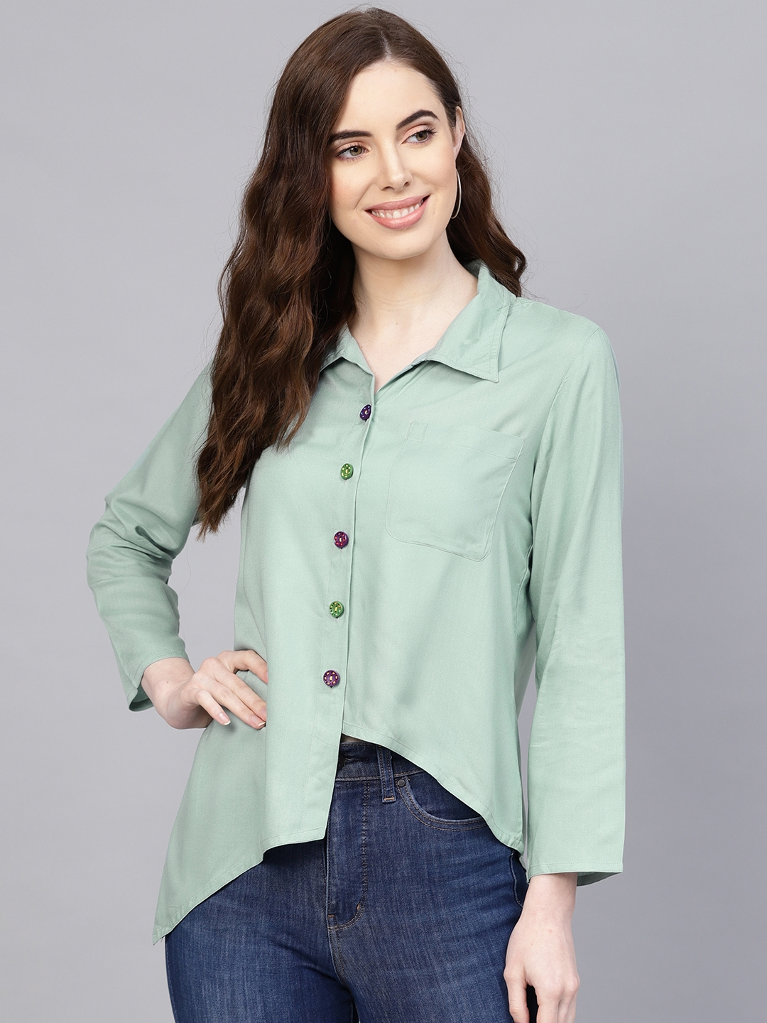 Jaipur Kurti Women Green Regular Fit Solid Casual Shirt