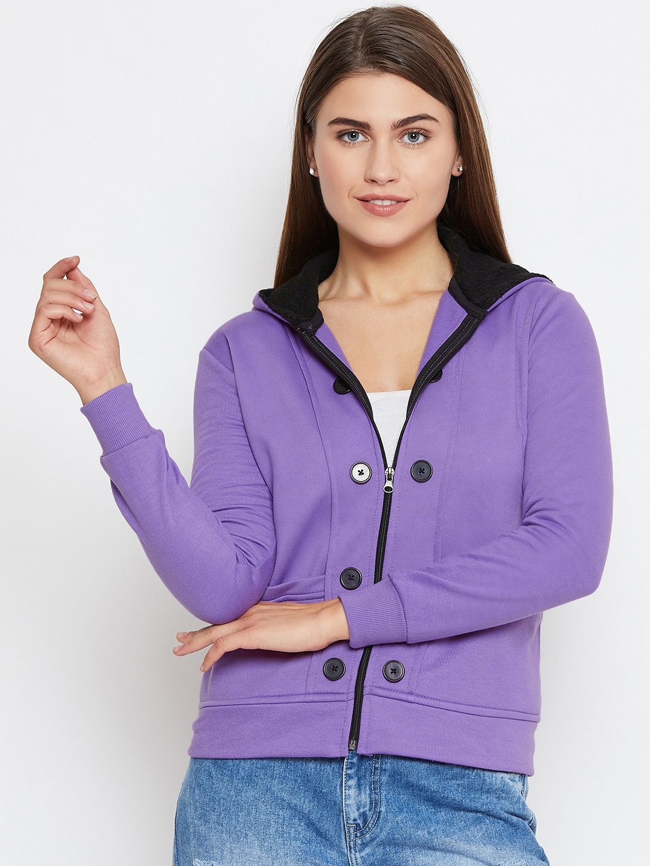 Belle Fille Women Purple Solid Hooded Jacket