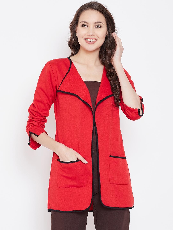 Belle Fille Women Red Solid Open Front Shrug
