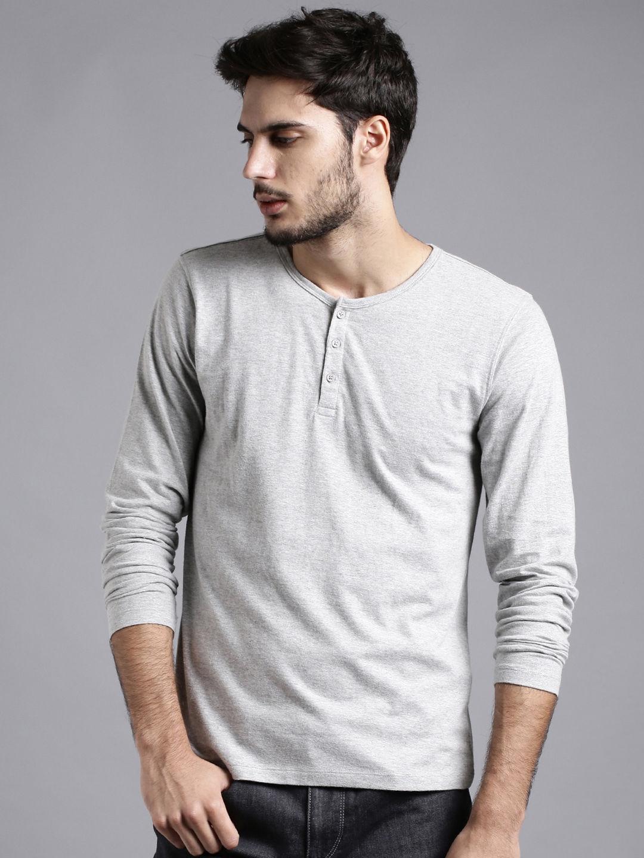 52b651a6 Buy ETHER Grey Melange Henley T Shirt - Tshirts for Men 1032028 | Myntra