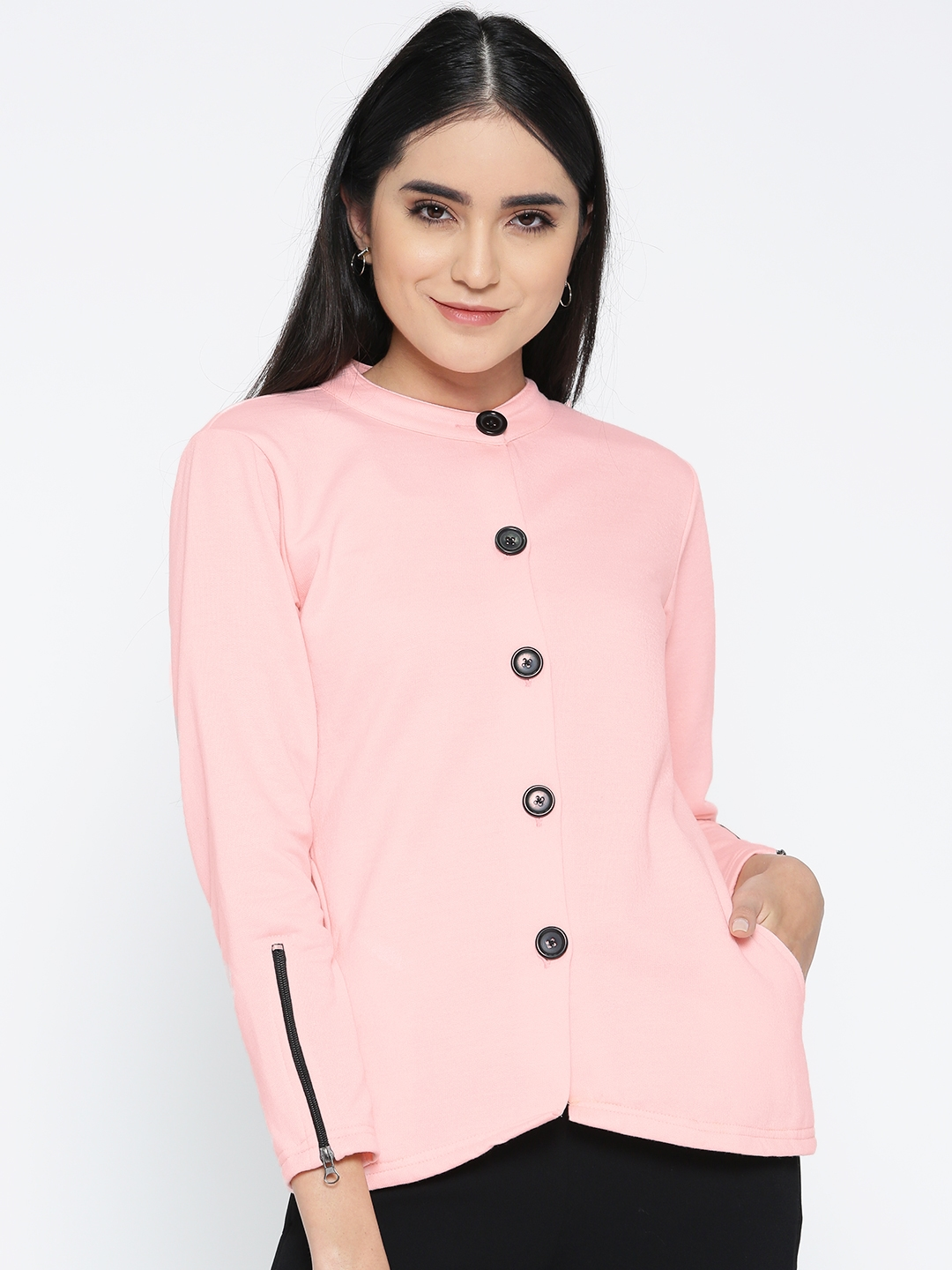 Belle Fille Women Pink Solid Tailored Jacket