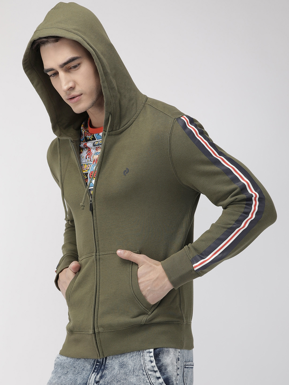 Denizen From Levis Men Olive Green Solid Hooded Sweatshirt