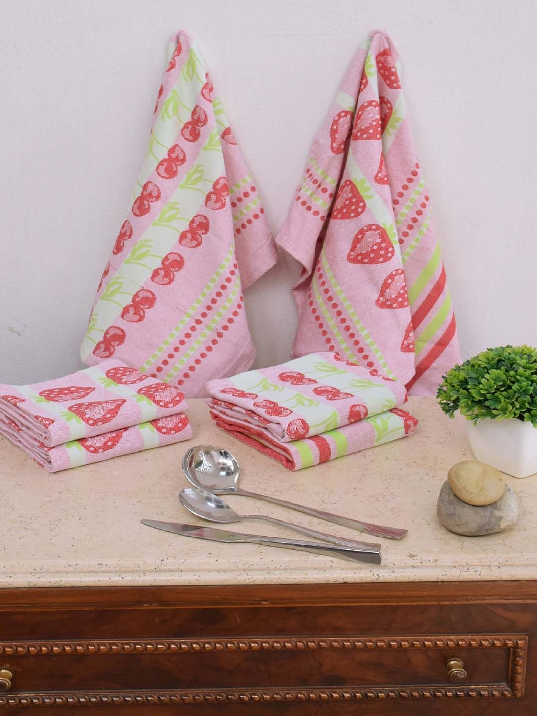 Avira Home Set of 6 Multi Color Printed Kitchen Towels