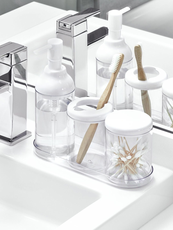 INTERDESIGN Set of 4 White   Transparent Plastic Bathroom Accessory