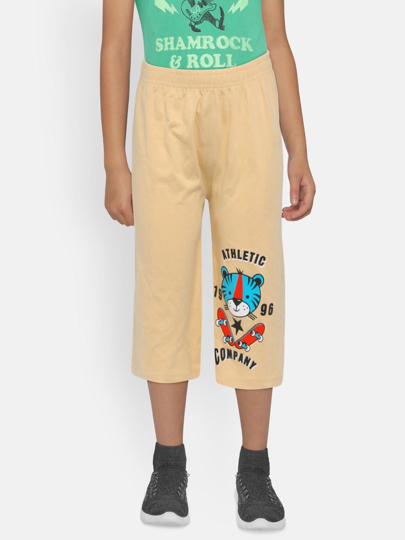 dongli Boys Beige Printed Regular Fit Regular Three Fourth Shorts