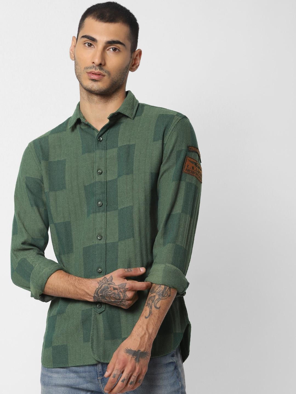 Jack   Jones Men Green Vintage Slim Fit Self Design Casual Shirt