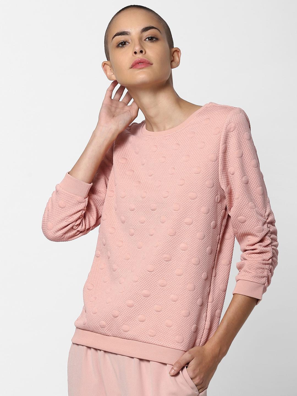 ONLY Women Pink Self Design Sweatshirt