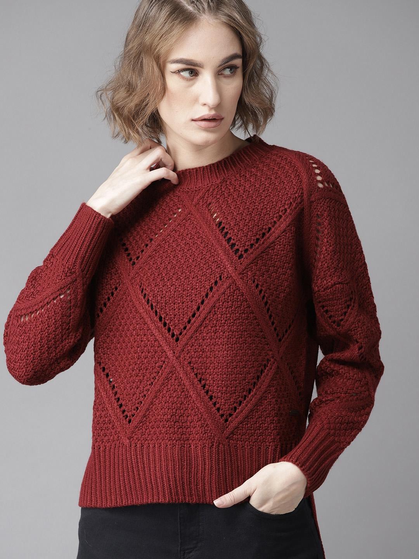 Roadster Women Maroon Self Design Sweater