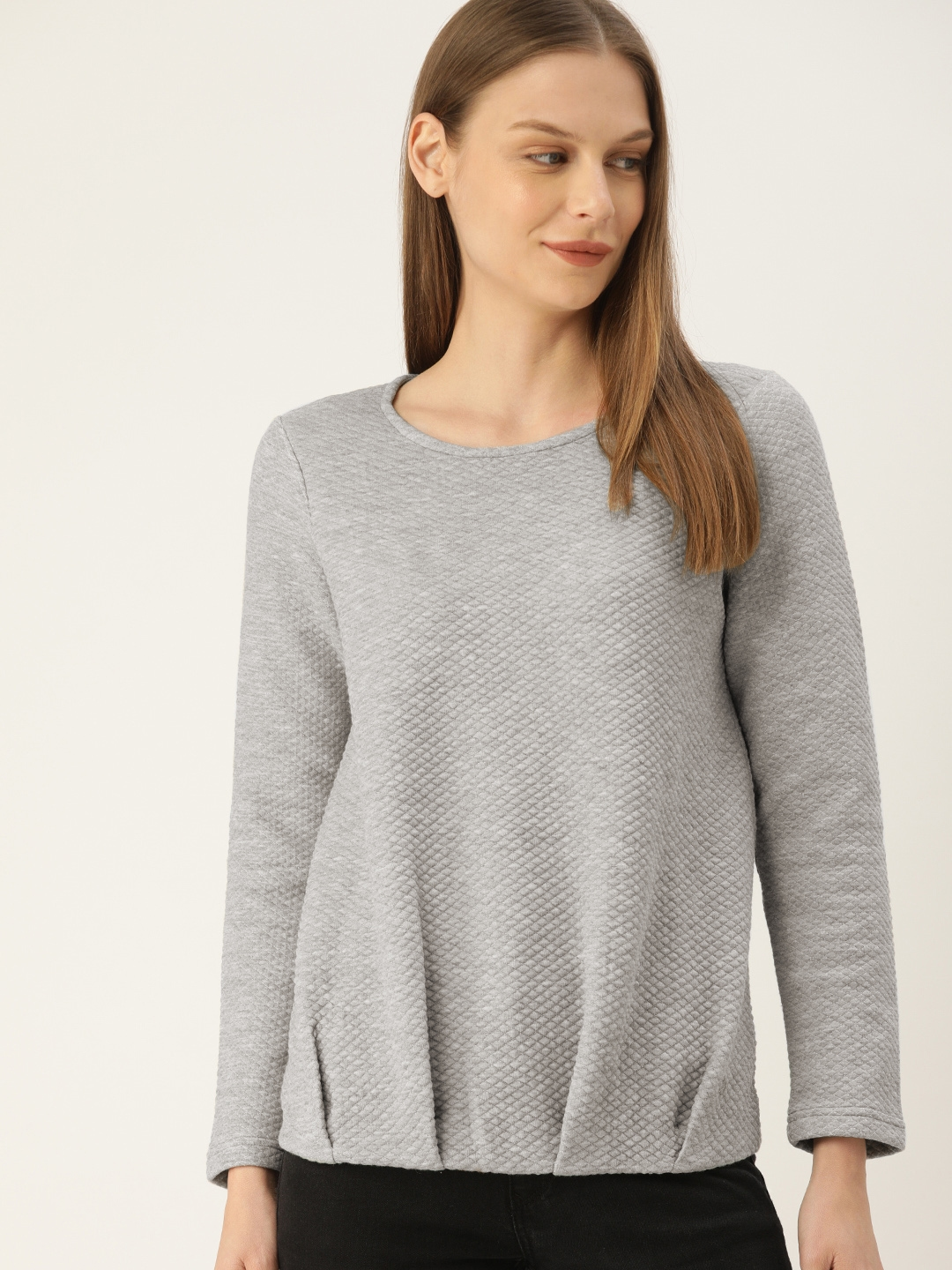 Allen Solly Woman Women Grey Self Design Sweatshirt