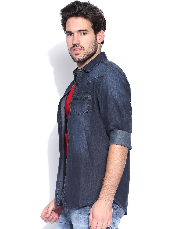 028f9247b5 Buy Being Human Clothing Blue Washed Slim Fit Denim Shirt - Shirts ...