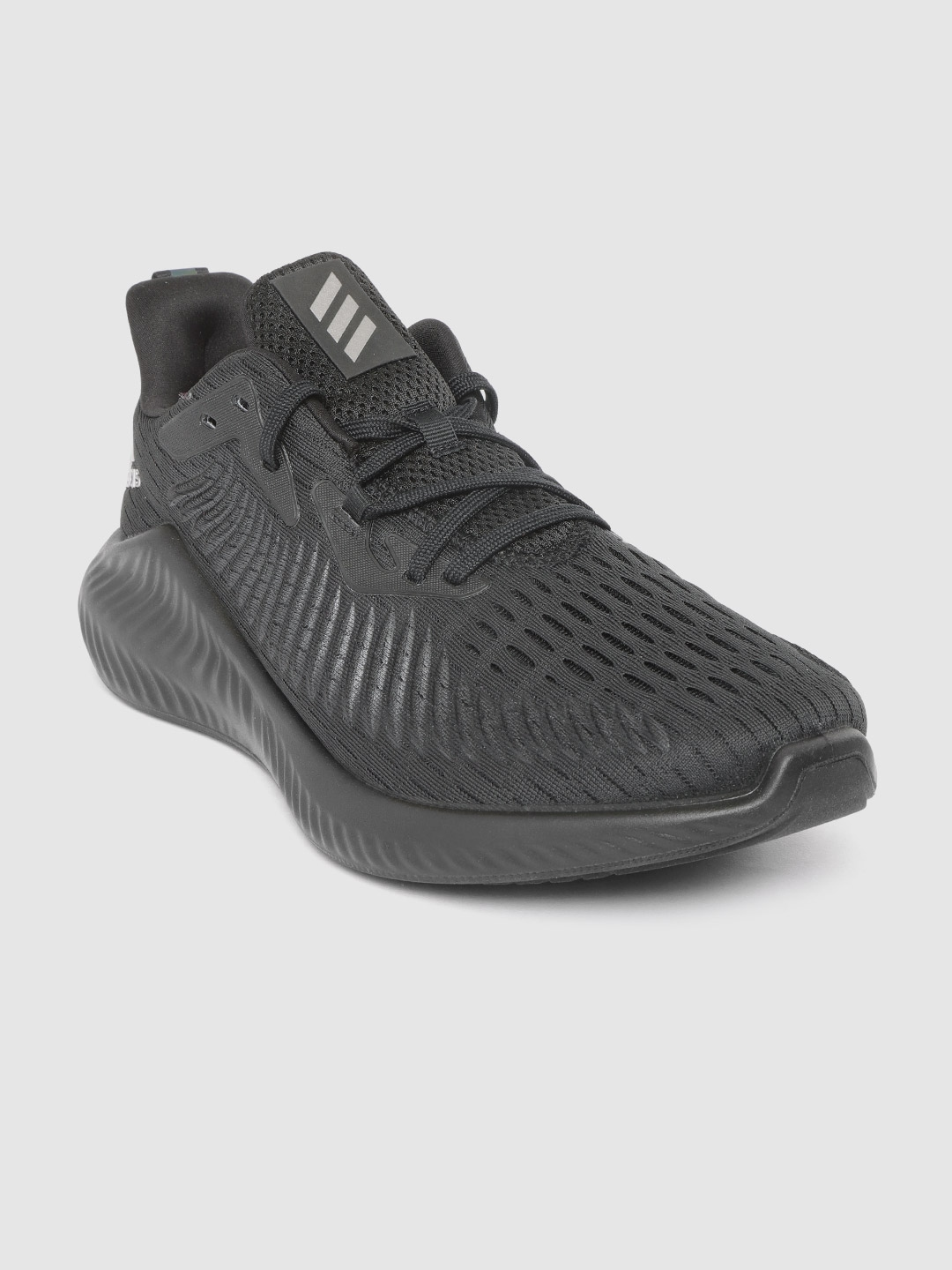 ADIDAS Men Black Textured Alpha Bounce Plus Running Shoes