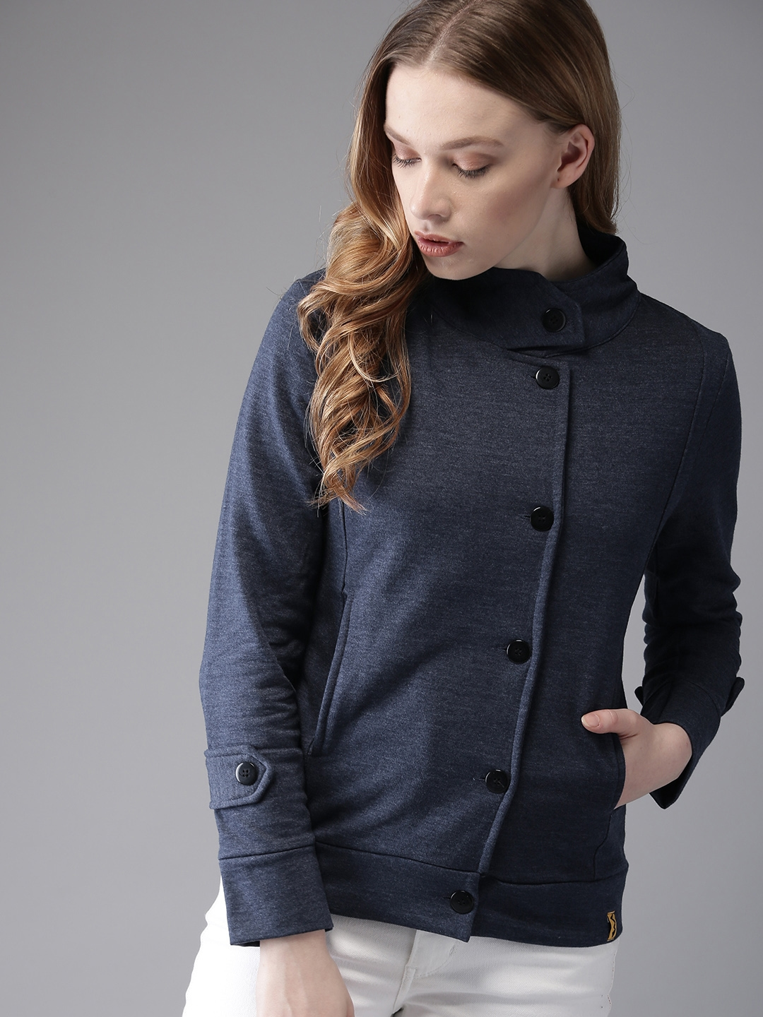 Campus Sutra Women Blue Solid Tailored Jacket
