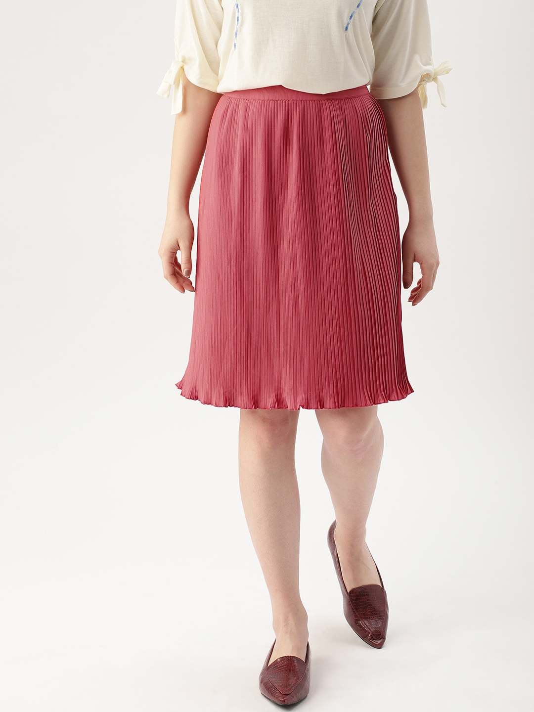 DressBerry Women Pink Solid Pleated A Line Skirt