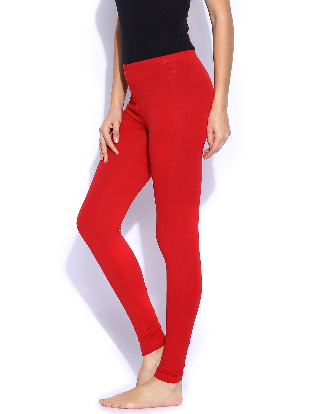 9a961bfde33e6 Buy SDL By Sweet Dreams Red Cotton Stretch Ankle Length Leggings ...