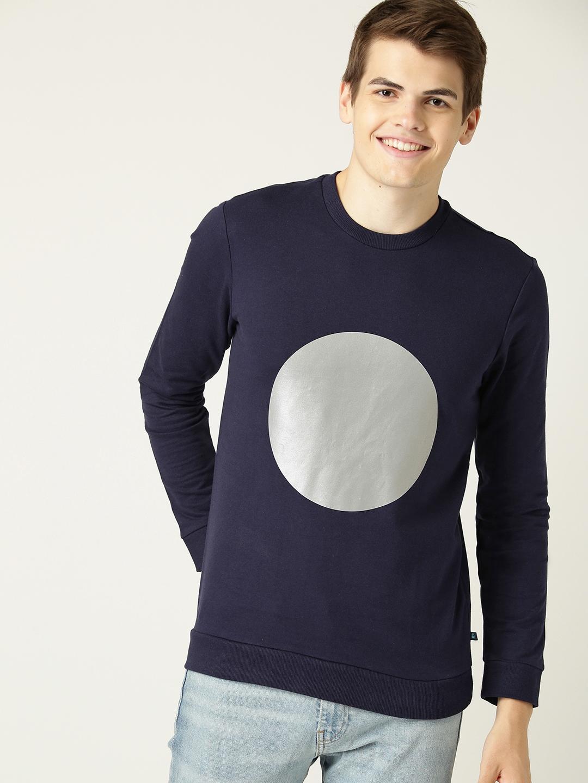 United Colors of Benetton Men Navy Blue Printed Sweatshirt