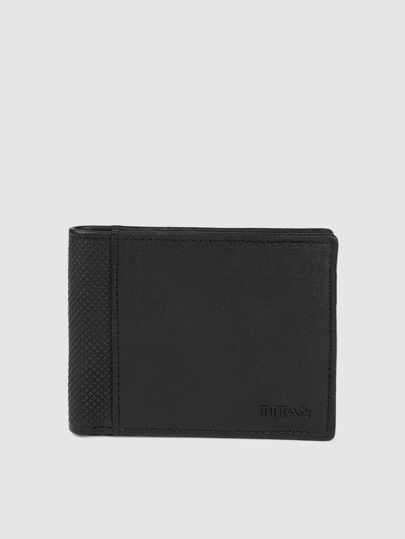 Titan Men Black Textured Leather Two Fold Wallet