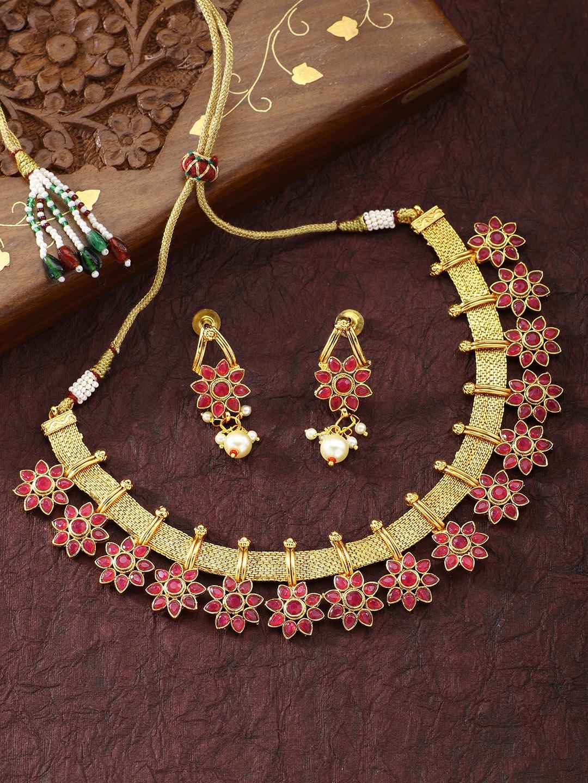 Traditional Flower Shape Kundan Fashion Necklace Earring Set