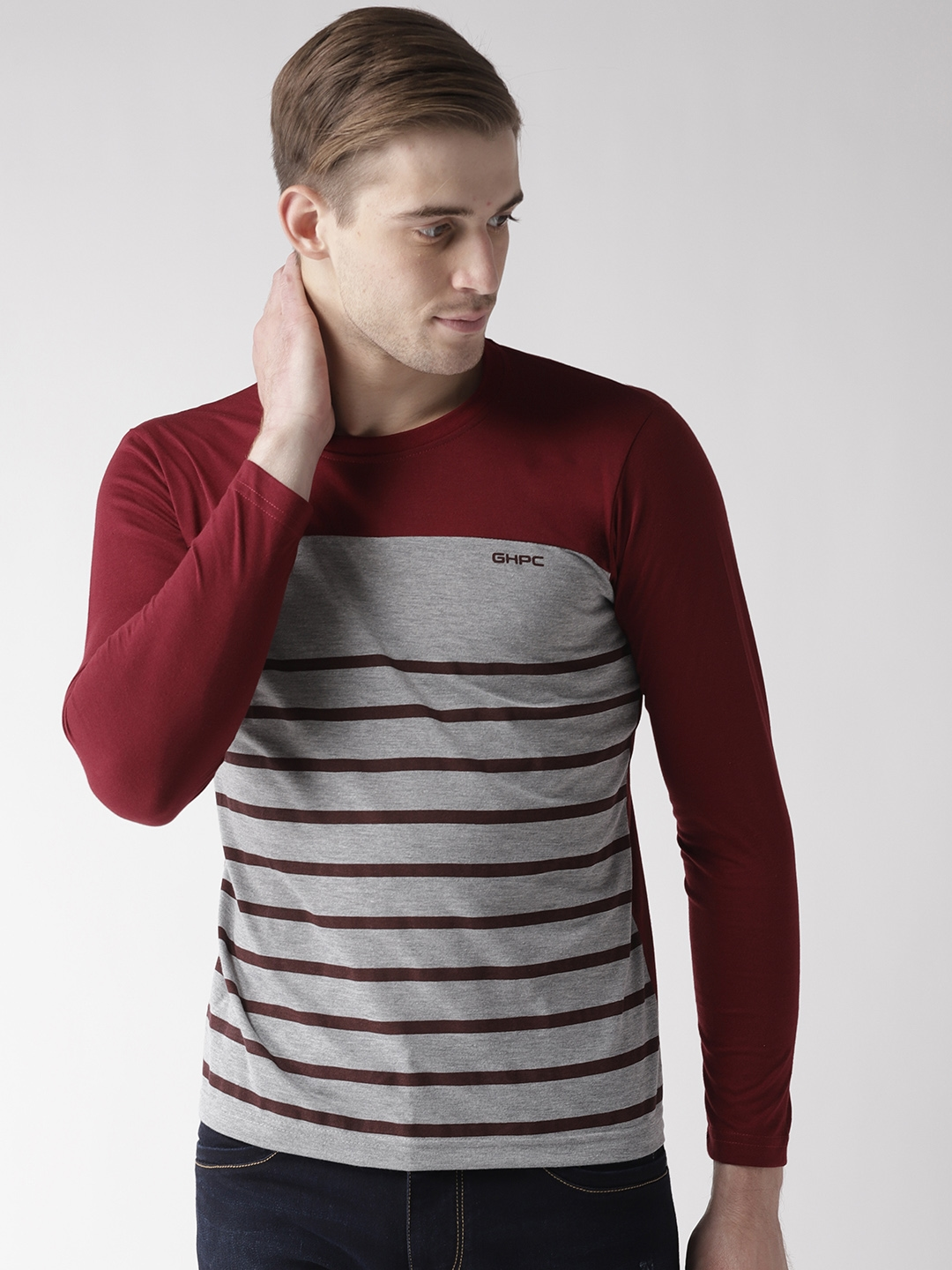 GHPC Men Grey Melange   Maroon Striped Round Neck T shirt
