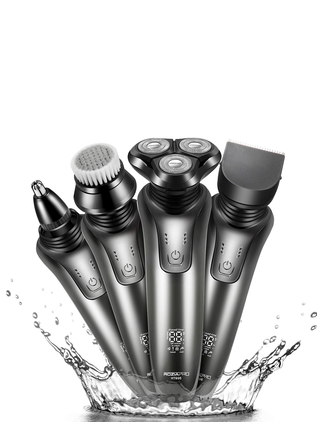 Rozia Men Silver Toned Electric 4 in 1 Rotary Shaver Beard Trimmer