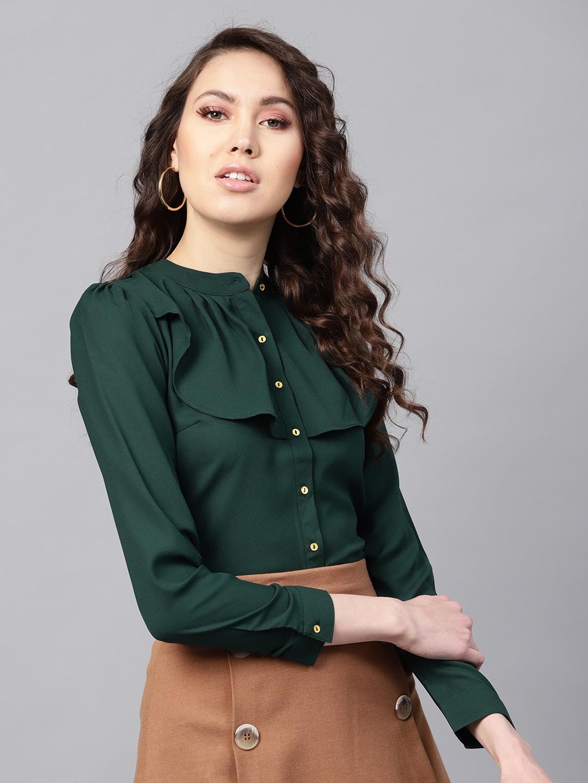 SASSAFRAS Women Green Ruffled Shirt Style Top