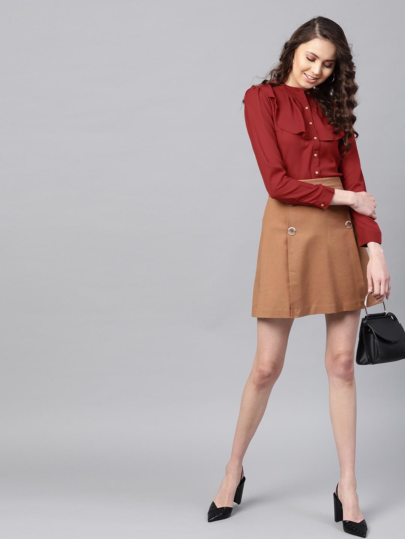 SASSAFRAS Women Maroon Ruffled Shirt Style Top