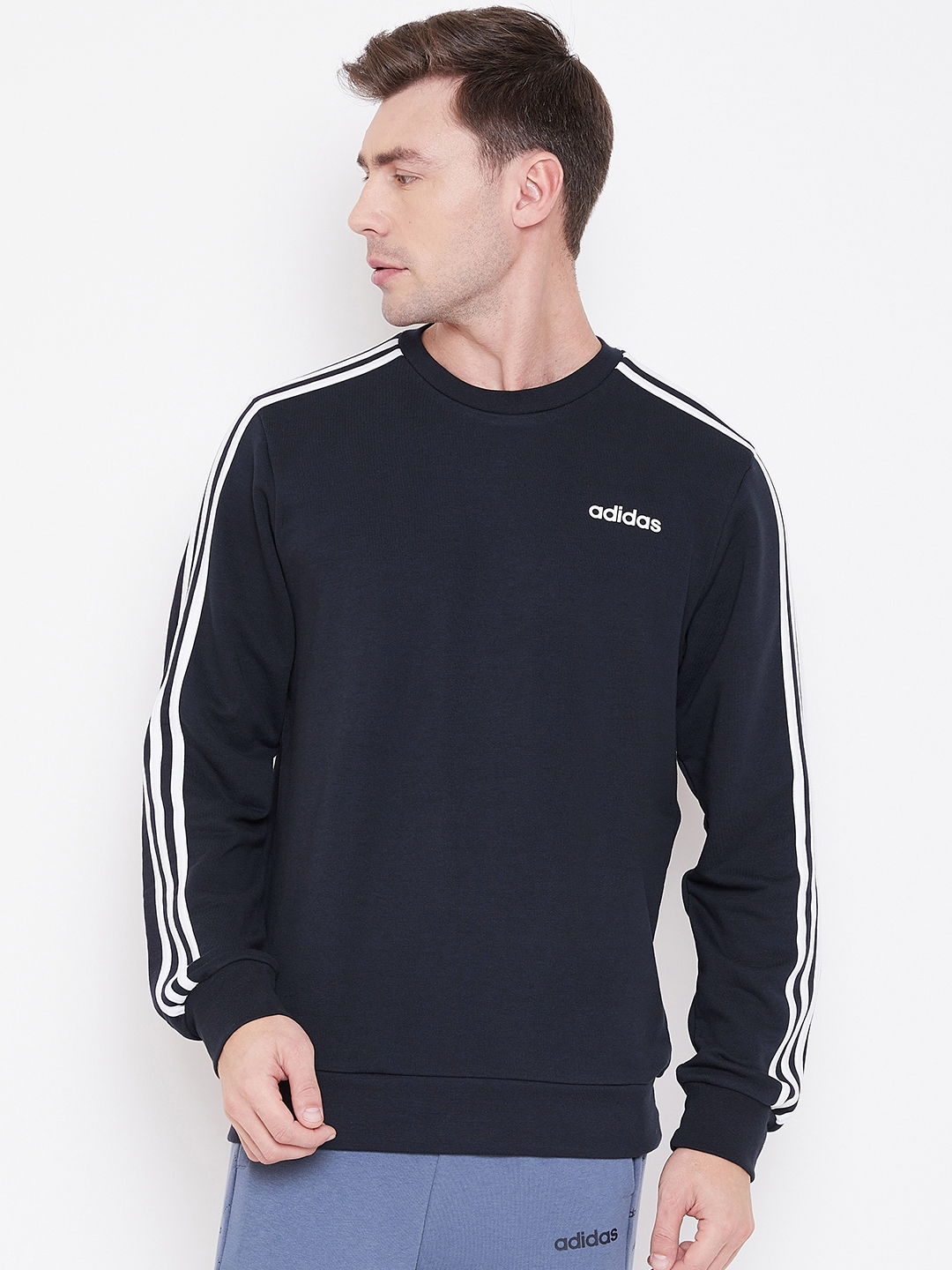 ADIDAS Men Navy Blue Solid E 3S Crew FT Sweatshirt