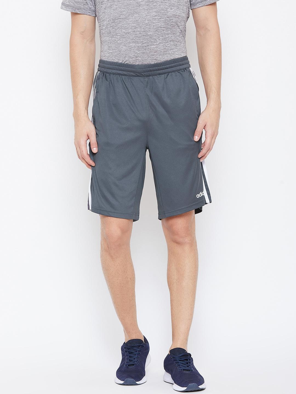 ADIDAS Men Grey Solid D2M Knit Sports Shorts