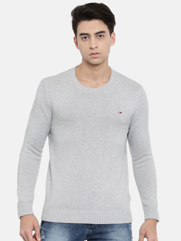 Tommy Hilfiger Men Grey Solid Sweater