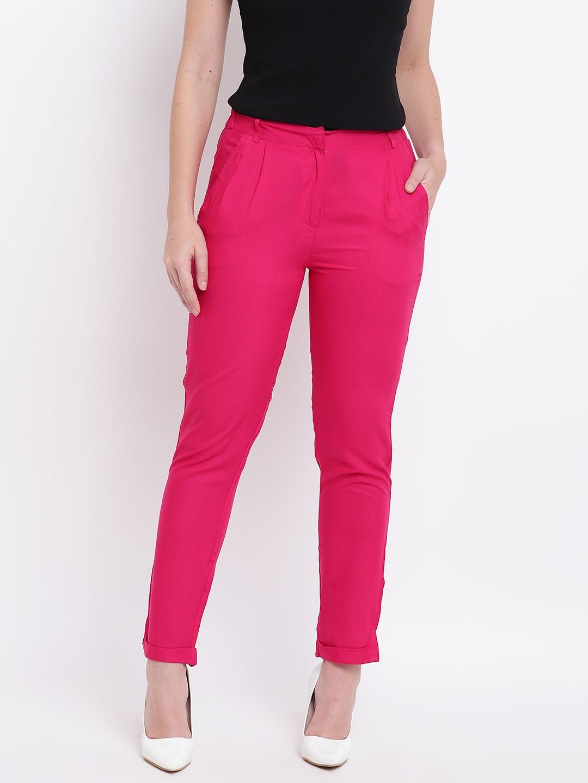 Deewa Women Pink Regular Fit Solid Regular Trousers
