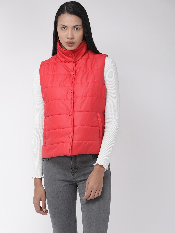 Flying Machine Women Red Solid Sleeveless Puffer Jacket