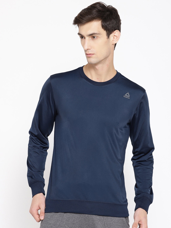 Reebok Men Navy Blue Solid Foundation Training Sweatshirt